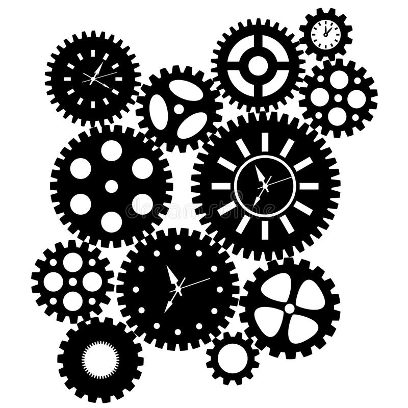 Download Time Clock Gears Clipart stock illustration. Image of hours - 22109203