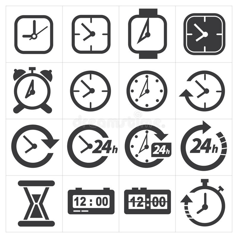 Time and clock icon set royalty free illustration