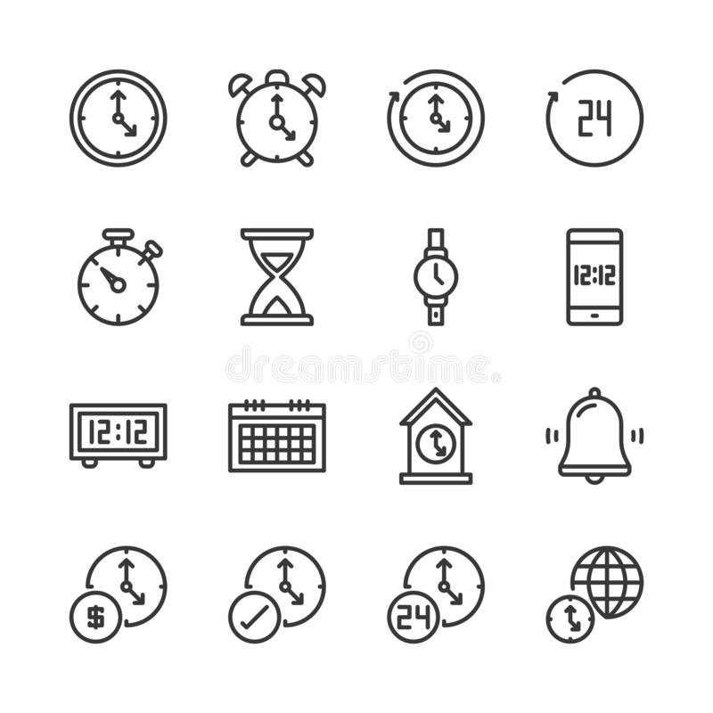 Time and clock icon set.Vector illustration. Time and clock in simple outline icon set.Vector illustration stock illustration