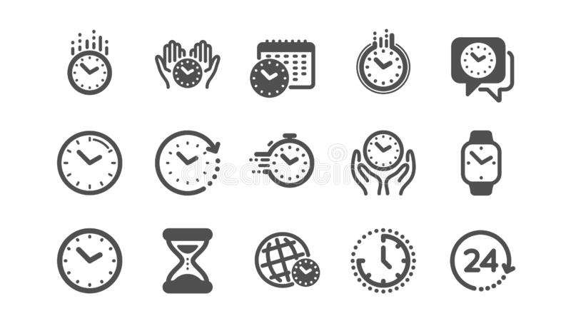Time and clock icons. Timer, Alarm and Smartwatch. Classic set. Vector. Time and clock icons. Timer, Alarm and Smartwatch. Time management, 24 hour clock vector illustration