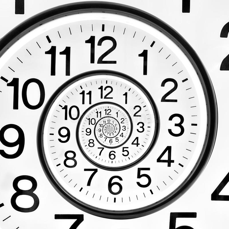 Time clock infinite spiral. Droste stock images