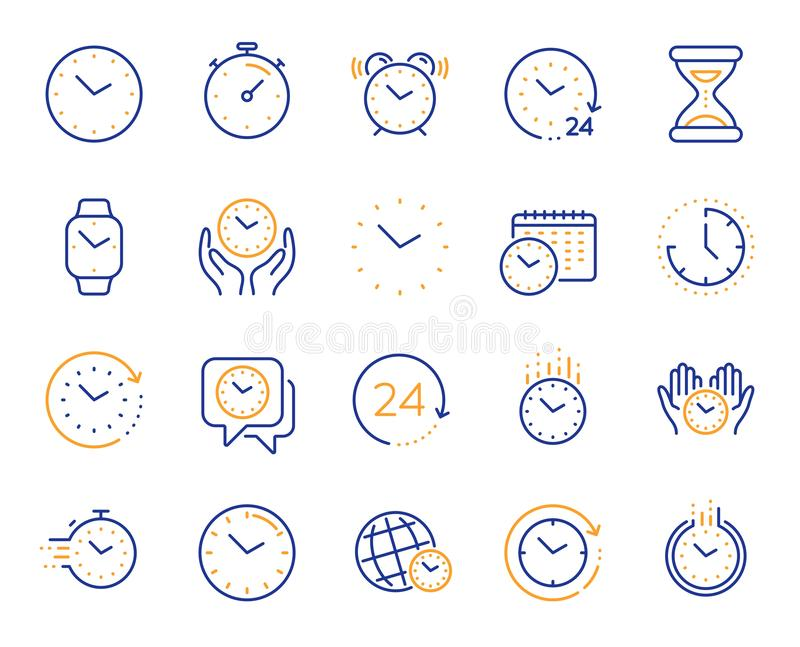 Time and clock line icons. Timer, Alarm and Smartwatch. Vector. Time and clock line icons. Timer, Alarm and Smartwatch. Time management, 24 hour clock, deadline royalty free illustration