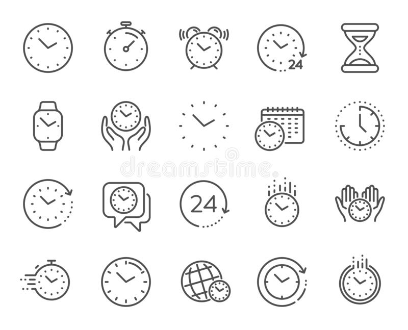 Time and clock line icons. Timer, Alarm and Smartwatch. Vector. Time and clock line icons. Timer, Alarm and Smartwatch. Time management, 24 hour clock, deadline stock illustration