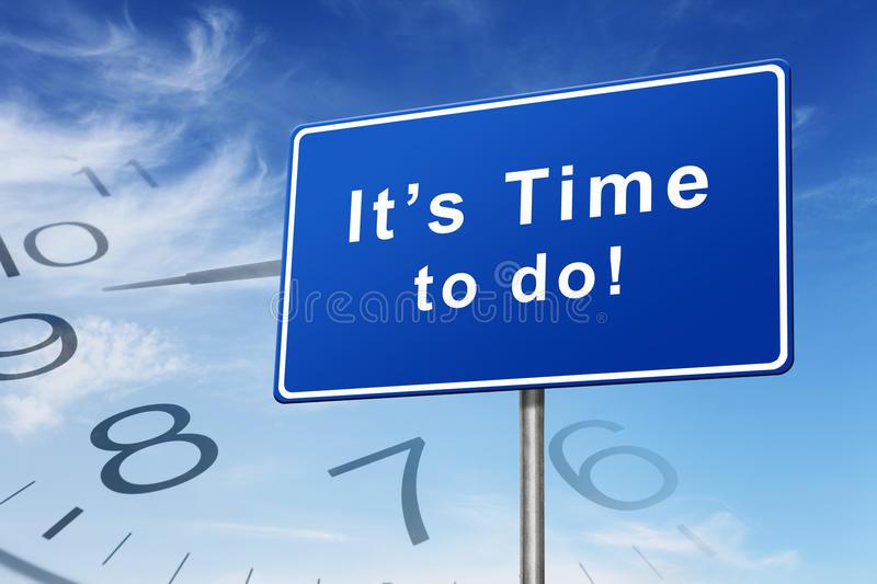 Time and clock road sign concept. Image on blue sky background stock photo