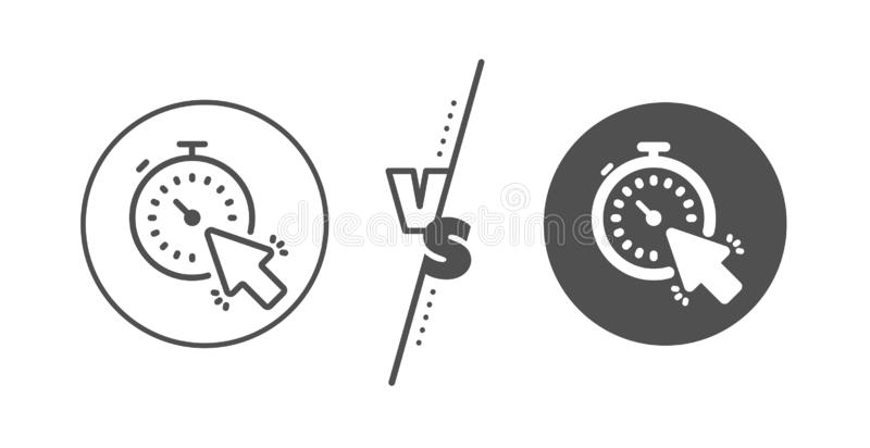 Timer line icon. Time or clock sign. Vector. Time or clock sign. Versus concept. Timer line icon. Mouse cursor symbol. Line vs classic timer icon. Vector royalty free illustration