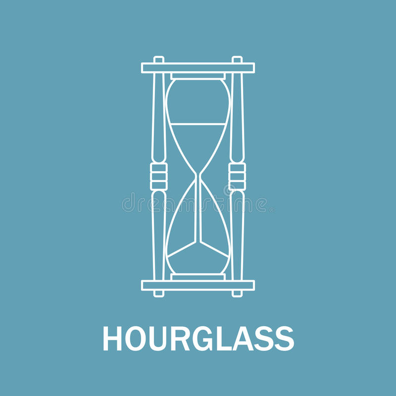 Time and clock sign. Watch icon. Line style illustration isolated. Hourglass. stock illustration