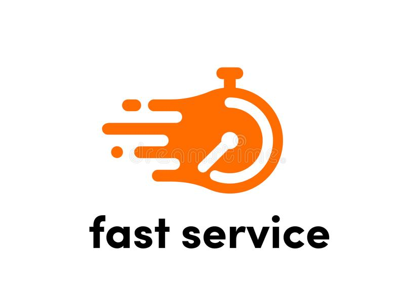 Time clock vector logo fast express service royalty free illustration