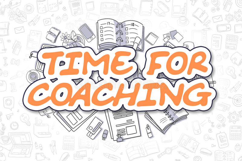 Download Time For Coaching - Cartoon Orange Text. Business Concept. Stock Illustration - Image: 86681427