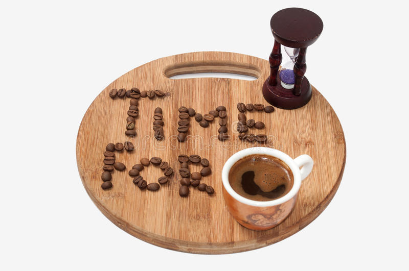 Time for coffee concept image. With hourglass stock image