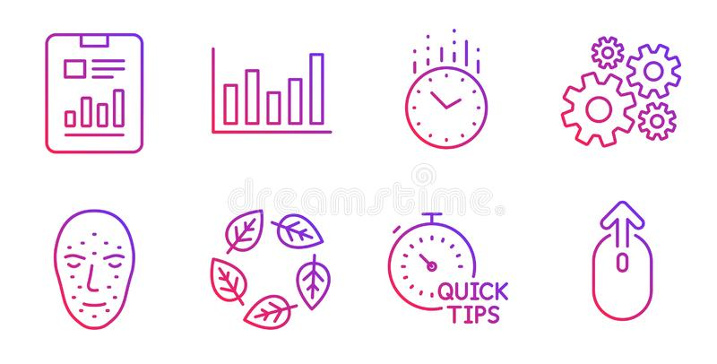 Time, Column chart and Organic tested icons set. Cogwheel, Face biometrics and Report document signs. Vector. Time, Column chart and Organic tested line icons royalty free illustration