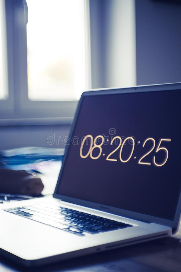 Time on computer screen royalty free stock photography
