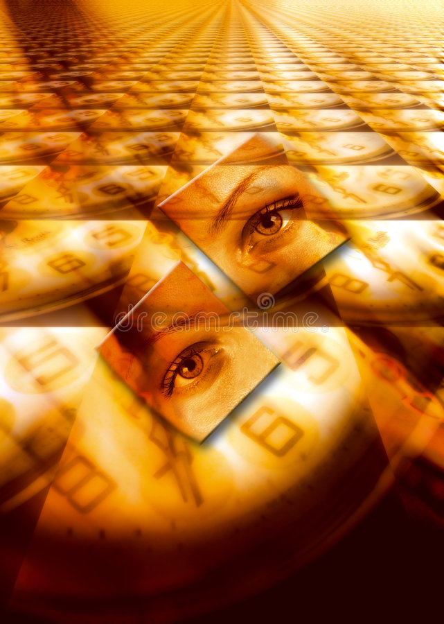 Time concept. Surrealistic illustration with female eyes over a floor of clocks stock illustration