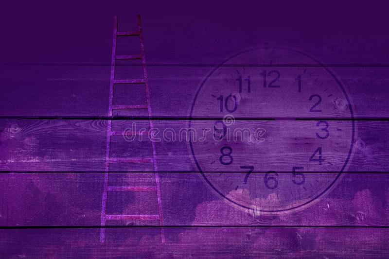 Beyond time. Time concept. Beyond time. Surreal image with wooden surface ladder and clouds stock illustration