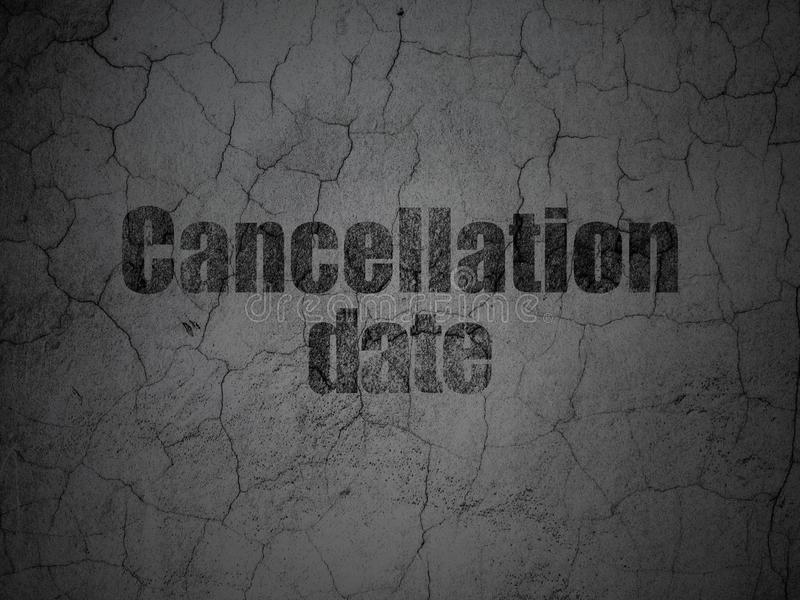 Time concept: Cancellation Date on grunge wall background. Time concept: Black Cancellation Date on grunge textured concrete wall background vector illustration