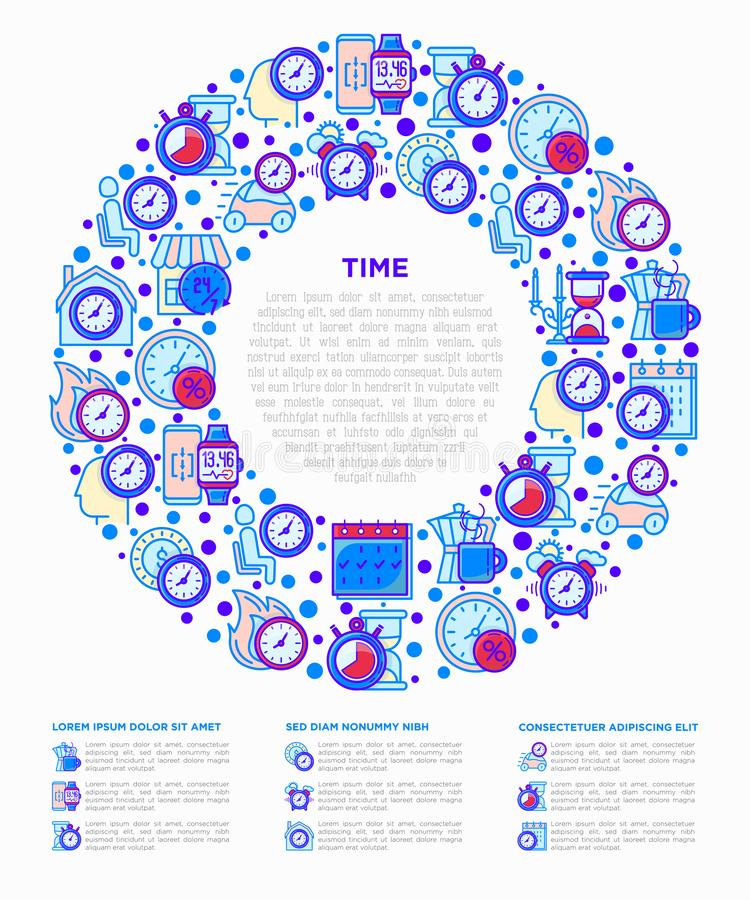 Time concept in circle with thin line icons: coffee time, stopwatch, smart watch, hot time, sale, deadline, alarm, open hours, co stock illustration