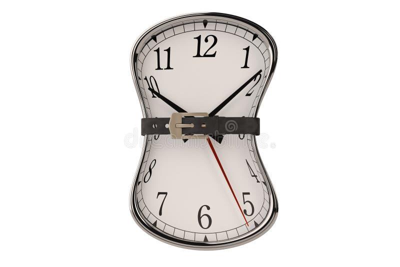 Time concept clock and belt.3D illustration. Time concept clock and belt. 3D illustration royalty free illustration