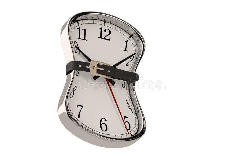 Time concept clock and belt.3D illustration. Time concept clock and belt. 3D illustration stock illustration