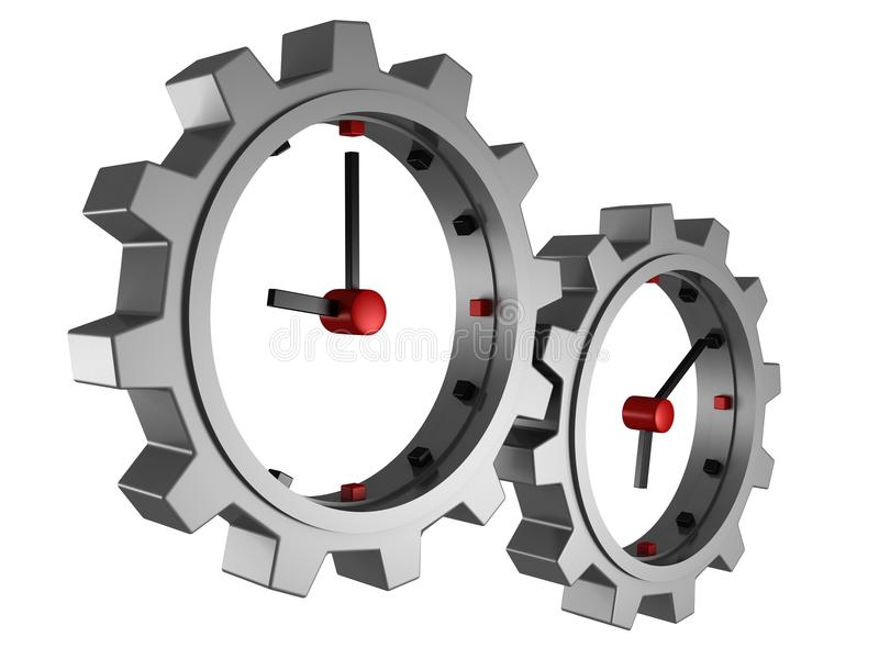 Time concept clocks gear wheels over white royalty free illustration
