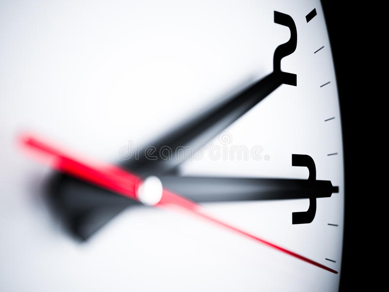 Time concept. Close up wall clock arrows. 3d rendering illustration. Time concept vector illustration