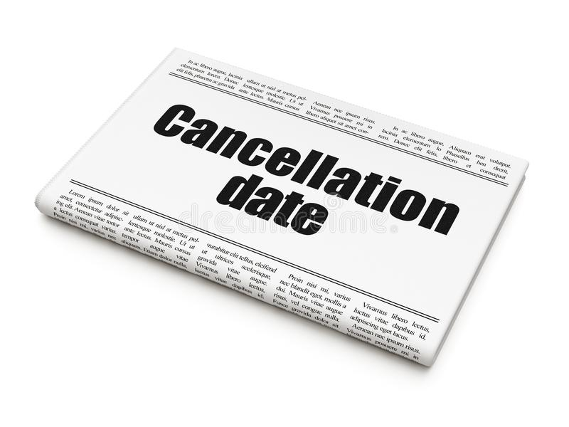 Time concept: newspaper headline Cancellation Date. On White background, 3D rendering royalty free illustration