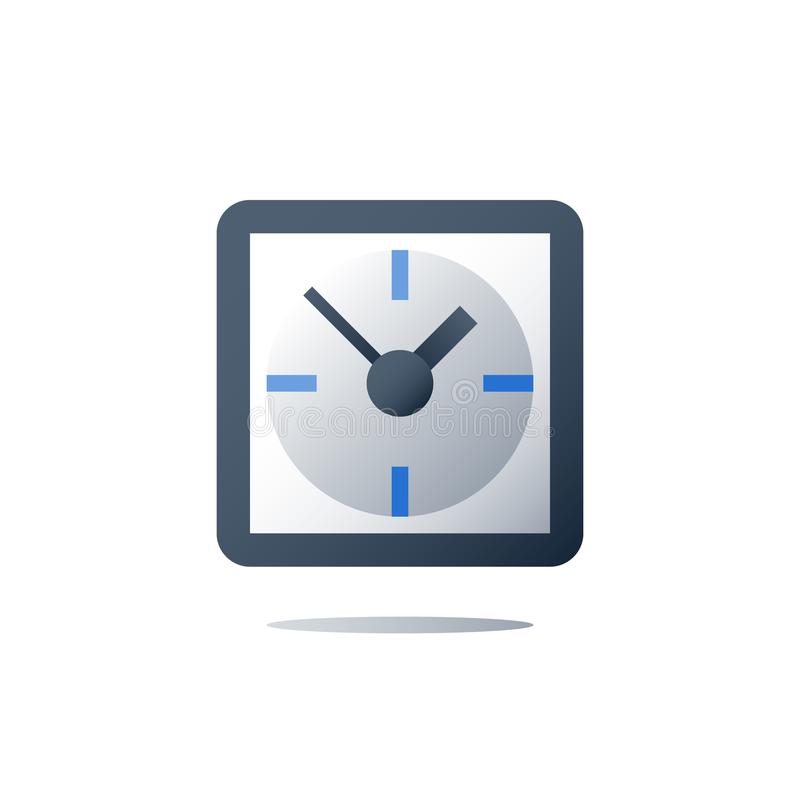 Time concept, square clock, fast services, time period, vector icon royalty free illustration
