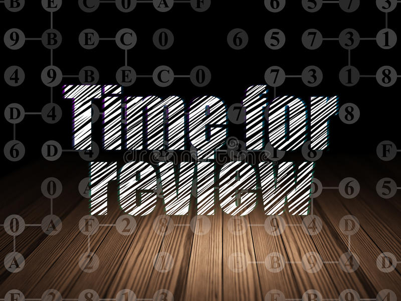 Time concept: Time for Review in grunge dark room vector illustration