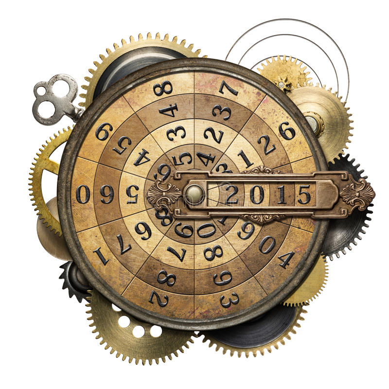 Time counting. Stylized steampunk metal collage of time counting device. New Year concept stock images