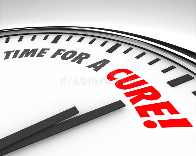 Time for a Cure Clock Prevent Disease Sickness Illness Medical R stock illustration