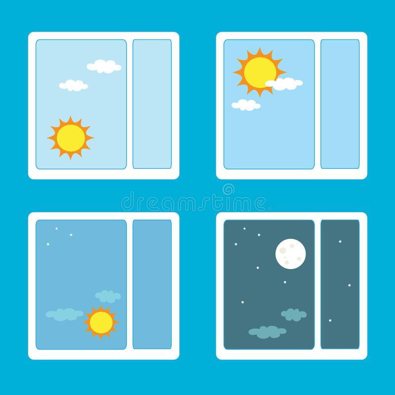 Time of day outside the window. Vector illustration royalty free illustration