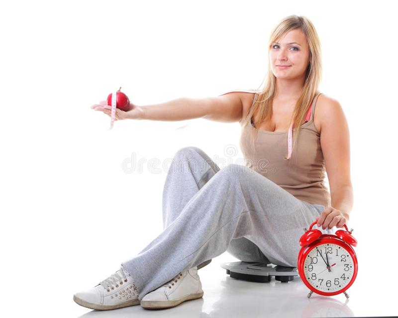 Time For Diet Slimming. Large Girl With Scale. Stock Image ...