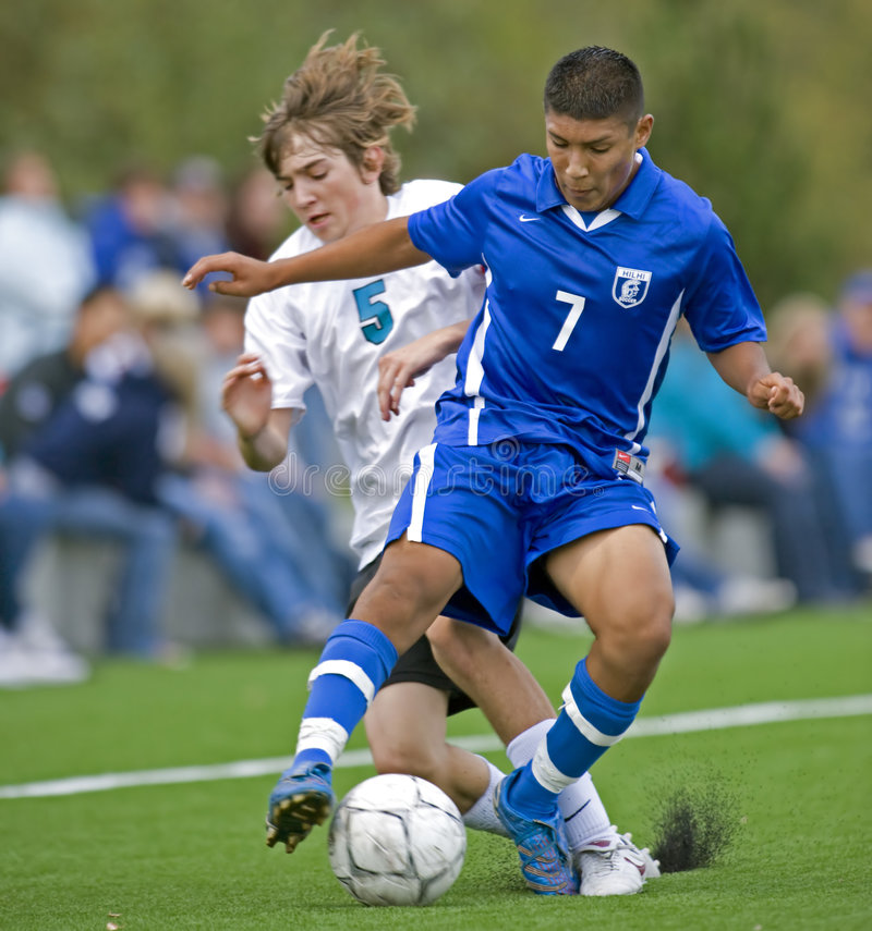 Time do colégio 1 dos meninos do futebol foto de stock royalty free