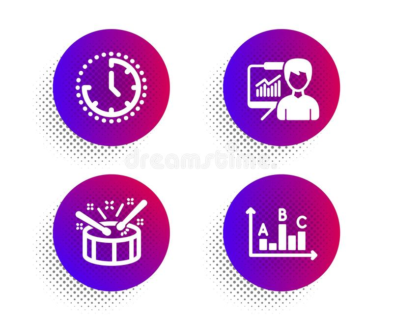 Time, Drums and Presentation icons set. Survey results sign. Clock, Drumsticks, Education board. Best answer. Vector. Time, Drums and Presentation icons simple vector illustration