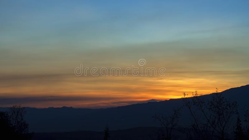 The time of dusk over the Andean mountains. Of central Colombia royalty free stock images