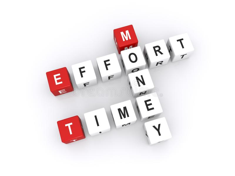 Time effort and money. Letters blocks in crossword shape spelling words time, effort and money; business concept stock images