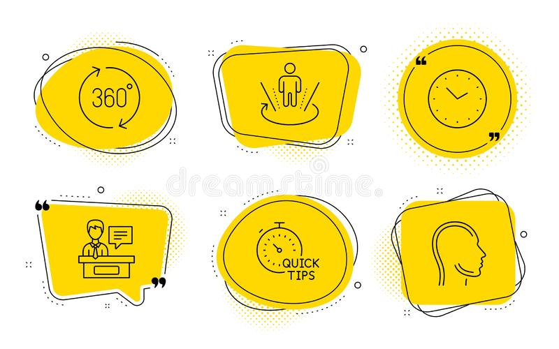 Time, Exhibitors and 360 degrees icons set. Augmented reality, Quick tips and Head signs. Vector. Augmented reality, Quick tips and Head signs. Chat bubbles stock illustration