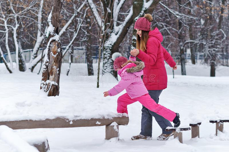 Winter fun family stock photography