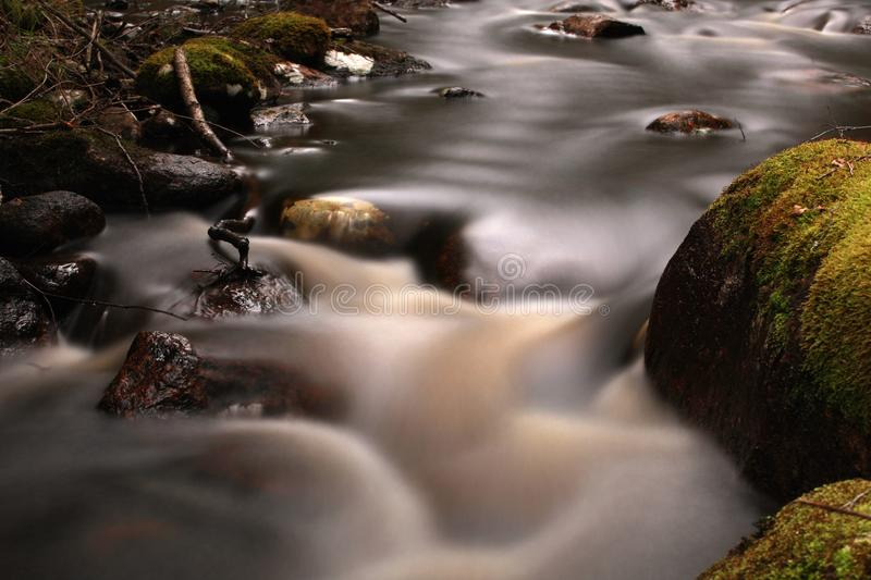 Time exposure on a river. A long time exposure on a river with mossy stones stock image