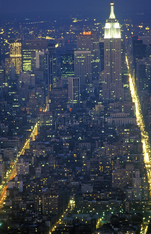 Time exposure shot of Manhattan at night from above, New York City, NY royalty free stock photos