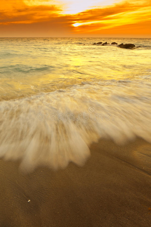 Time exposure of surf in florida royalty free stock photos
