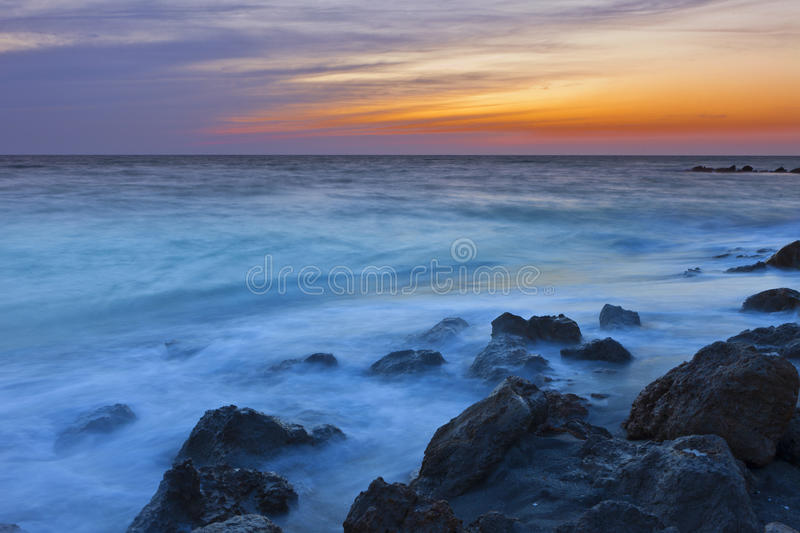 Time exposure of surf in florida stock images