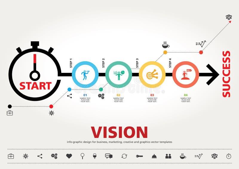 Time för framgång, design för modern information om mall grafisk arkivfoto