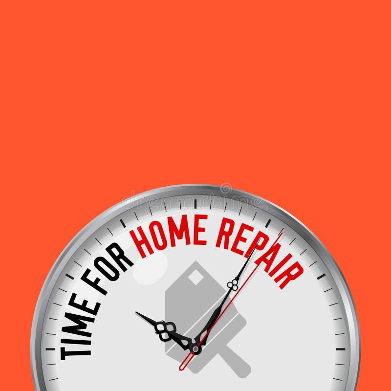 Time för hem- reparation Vit vektorklocka med Motivational slogan Parallell metallklocka med exponeringsglas Hus- och spatelsymbo stock illustrationer