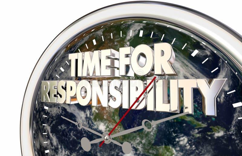 Time för illustration för aktivism 3d för ansvarklockamiljö royaltyfri illustrationer