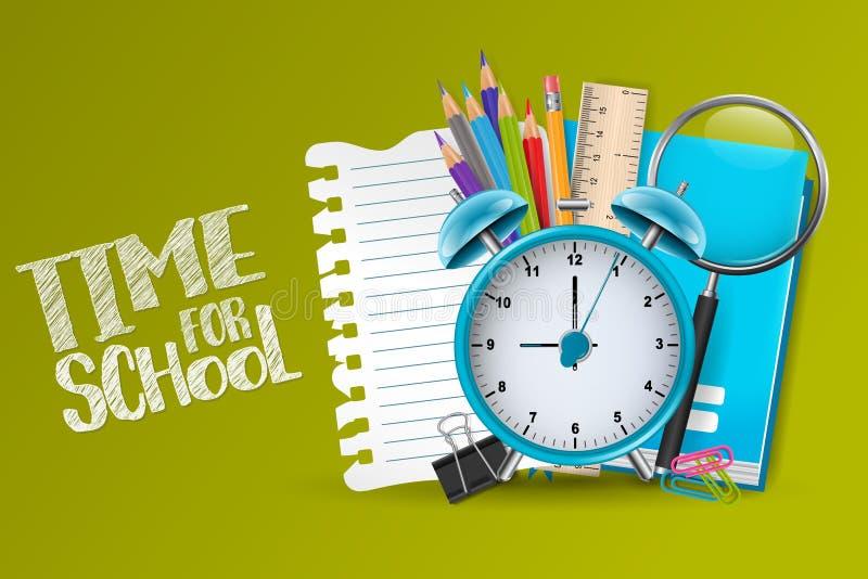 Time för skolabakgrund med utbildningstillförsel, ringklockan och ett stycke av sönderrivet papper stock illustrationer
