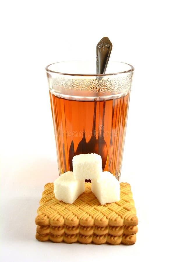Time för te med socker arkivfoto