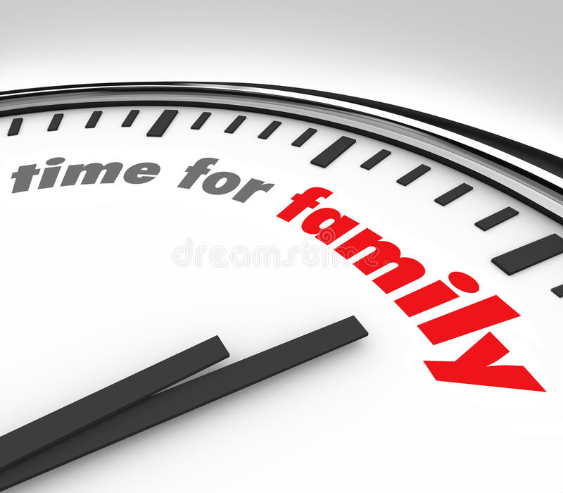 Time for Family Clock Spending Moments Parents Children. Time for Family words on a round clock background to illustrate the importance of spending quality royalty free illustration