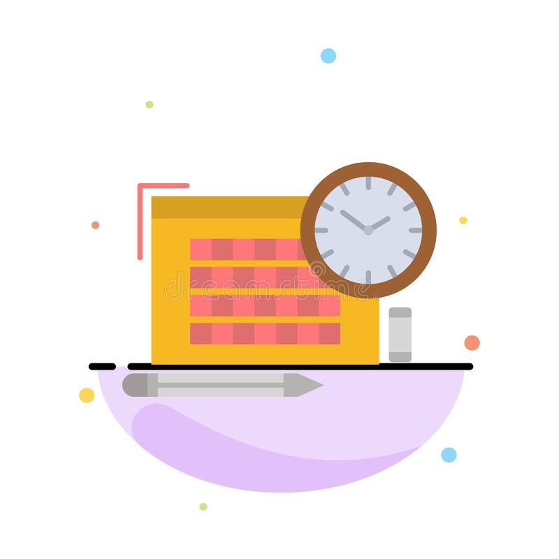 Time, File, Pen, Focus Abstract Flat Color Icon Template vector illustration