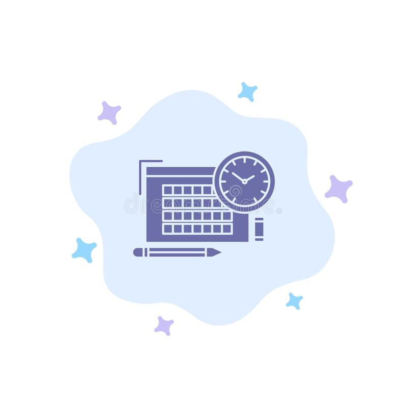 Time, File, Pen, Focus Blue Icon on Abstract Cloud Background vector illustration