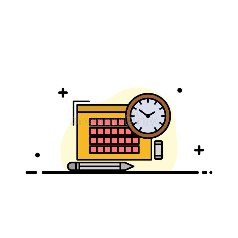 Time, File, Pen, Focus  Business Flat Line Filled Icon Vector Banner Template stock illustration