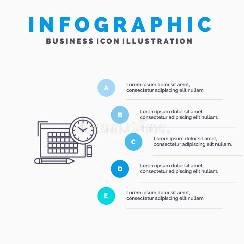 Time, File, Pen, Focus Line icon with 5 steps presentation infographics Background stock illustration